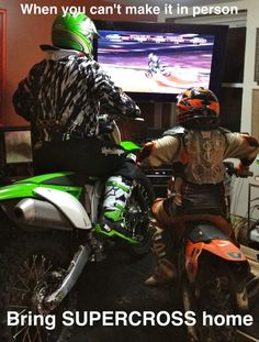 Stephan and Nathan watching supercross on TV