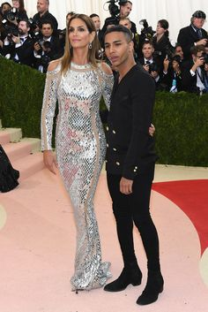 """Model Cindy Crawford and fashion designer Olivier Rousteing attend the """"Manus x Machina: Fashion In An Age Of Technology"""" Costume Institute Gala at Metropolitan Museum of Art on May 2, 2016 in New York City."""