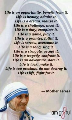 The charity and humble life of mother theresa