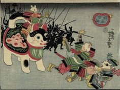 Mice Attack the Cats using a Toy Dog by Yoshitoshi from the War between Cats and Mice series Japanese Drawings, Japanese Artwork, Japanese Cat, Japanese Painting, Japanese Prints, Asian Cat, Samurai, Oriental, Art Asiatique
