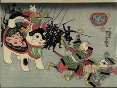 """Tsukioka Yoshitoshi """"The Battle of the Cats and Mice"""" 1859"""