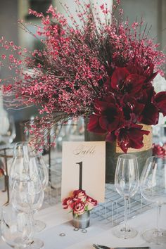 modern industrial wedding inspiration with marsala centerpieces