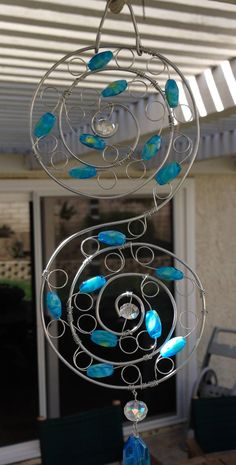 Beaded Suncatcher Blue Glass Beads S Spiral Shape for Window Decoration or Patio Decor