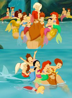 Walt Disney movie The Little Mermaid, Ariel's Beginning little mermaid girls, childhood, children, cute father Triton and his Princesses daughters. Walt Disney, Disney Girls, Disney Love, Disney Magic, Disney Stuff, Disney E Dreamworks, Disney Pixar, Disney Characters, Disney Little Mermaids