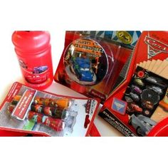Disney Pixar Cars Set includes 2 Dinner Plates, 1 Water Bottle, 1 Set of Eating Utensils, 1 Night Light, 1 Yo Yo, 1 Stamp Activity Set & 3 Stamp n' Race Markers. This is sure to please any Cars fan.