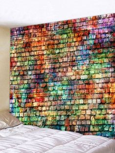 Colorful Brick Pattern Tapestry Wall Decoration - multicolor W91 INCH * L71 INCH