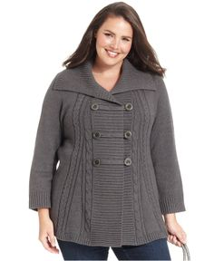 Style&co. Plus Size Sweater, Long-Sleeve Cable-Knit Cardigan - Plus Size Sweaters - Plus Sizes - Macy's