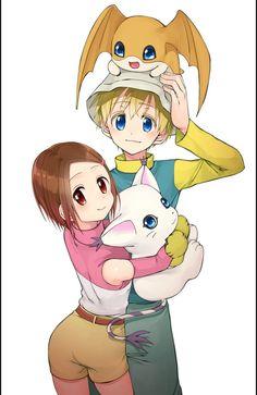 Tk (Takeru) Patamon and Kari (Hikari) Gatomon (Tailmon)