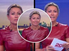 Anne-Sophie Lapix Dark Red Leather Dress - YouTube