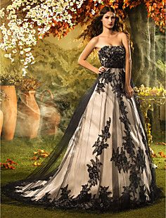 A-line/Princess Strapless Court Train Lace Wedding Dress – USD $ 499.99