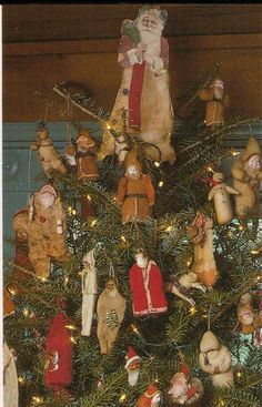 these are wonderful old santas and ornaments!