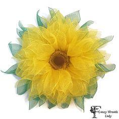 Yellow Sunflower Wreath Deco Mesh Sunflower by FancyWreathLady #Sunflower, #Decomesh, #Summer