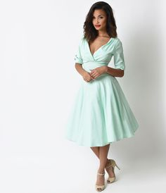 1950s Style Mint Delores Sleeved Swing Dress $88.00 AT vintagedancer.com
