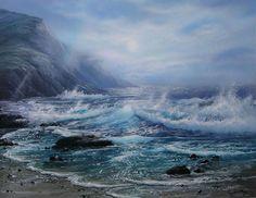 Davis Francis Schwartz Art For Sale - 2 Listings Seascape Paintings, Landscape Paintings, Paintings For Sale, Original Paintings, Scenery Photography, Beach Scenes, Ocean Beach, Nature Scenes, Art For Sale