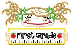 First Grade Boy and Girl Applique Design 5x7 and 6x10. $4.99, via Etsy.