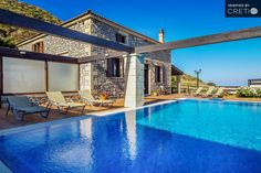 Holiday villa rental in Chania. Three bedroom family stone villa with wonderful sea view. Two stone villas, 150 square meters each, are built at th. The Family Stone, Luxury Holidays, Crete, Villas, Sea, Mansions, Bedroom, House Styles, Building
