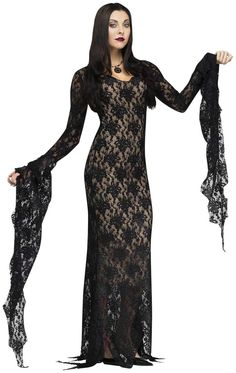 PartyBell.com - Lace Morticia Adult Costume