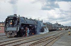 Canadian National 4-8-4 steam locomotive and train at Moncton NB 1949. John McIntosh Kodachrome. | by Jon Archibald