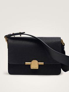 17cda043e123 Genți și portmonee de damă | Massimo Dutti Toamnă-Iarnă 2018 Black Leather Crossbody  Bag