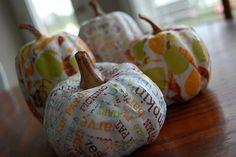 Love this easy mod podge pumpkins!