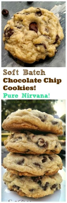 """Soft Batch Chocolate Chip Cookies! Pure Nirvana! Delectable, insane, buttery, rich, thick, soft-batch chocolate chip cookies are pure """"Nirvana"""". You won't want to miss out on these! via @https://www.pinterest.com/BaknChocolaTess/"""
