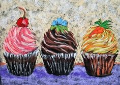 Three Cupcakes Original Pastel Painting