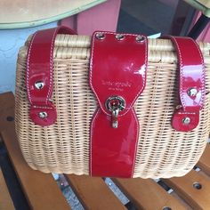 Kate spade handbag Kate spade wicker handbag red patent leather accent kate spade Bags Satchels