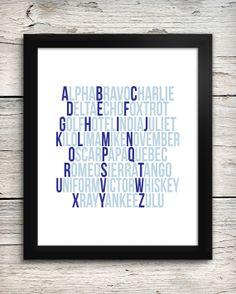 Navy Blue Aviation Alphabet Print, Pilot's Phonetic Alphabet, Aviation Art, Future Pilot Nursey Decor