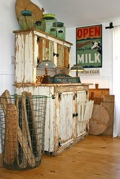 Great chippy white farmhouse cabinet!  love everything here!!