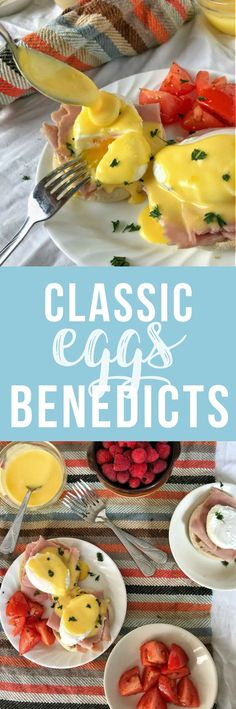 Classic Eggs Benedict is a true brunch delight! The dreamy, rich Hollandaise sauce over the crisp English muffin and creamy poached egg is e. Egg Recipes, Brunch Recipes, Cooking Recipes, Eggs Benedict Recipe, Egg Benedict, Breakfast On The Go, Breakfast Ideas, Breakfast Recipes, Eggs