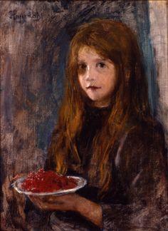Hans Heyerdahl (Norwegian, 1857-1913). Pike med jordbær (Girl with strawberries).