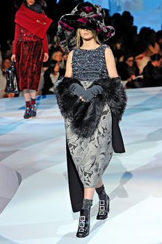 FW12 - Siri: Tinsel Tweed and Printed Wool Dress;   Faux Fur Boa;  Double-Faced Shetland Scarf;  Gloves;  Lurex Sock;  Shoes;  Mink Hat