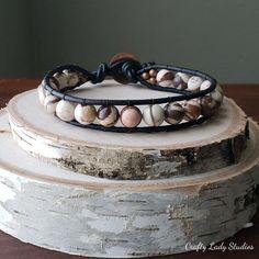 Men's zebra jasper leather bracelet