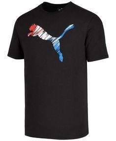 Puma Men's Logo-print T-shirt In Black Puma Shirts, Tee Shirts, Tees, Camisa Nike, Polo Design, Casual Wear For Men, Design Kaos, Man Logo, Tee Shirt Designs