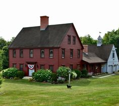A beautiful New England colonial style home. I love the symmetry of the windows and exterior colors. Exterior Colonial, Colonial House Exteriors, Exterior House Colors, Exterior Homes, Exterior Paint, Red Houses, Saltbox Houses, Farm Houses, Early American Homes