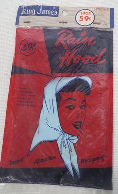 Vintage 50s 1950s Rain Bonnet Hat Scarf by PopRocksNSodaVintage Rain  Bonnet eb7da390a2f7