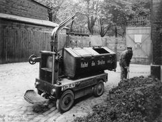 "Mechanized Street-Cleaning (1913)  Germany was in the vanguard of mechanization. The sanitation department in Stettin (Szczecin), a city in present-day Poland, was the first to use this cart, produced by the Bleichert Company, to clean the streets. The words on the side remind citizens: ""Keep the streets clean!"""