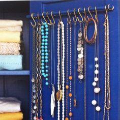 small dowel rod+ s hooks = jewelry organizer