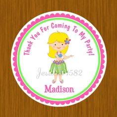 Hawaiian Luau Party Favor Stickers  Name and by jessica91582, $3.50