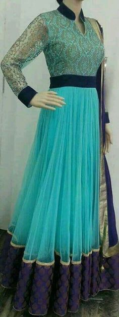 Lovely dark n light blue anarkali suit