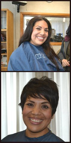 Watch this girl's transformation from long, boring hair to adorable pixie cut.