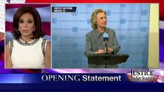 "3/15/15 - Judge Jeanine: ""We Need a Woman President, But NOT THIS Woman"". . . On last night's ""Justice,"" Judge Pirro said that Hillary Clinton doesn't have the integrity, transparency and honesty to be the next president."