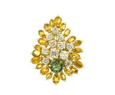 Large 14k Gold Diamond Yellow Green Sapphire Ring Available in the April 27 Auction on hamptonauction.com !!