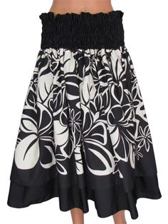 $59.95 This elegant and fashionable double-layer Pau Hula Skirt is made with solid colors on the top and bottom and 3 to 4 yards of beautiful Hawaiian printed fabric. At the waist it has 3 to 4 rows of adjustable elastic to accommodate you measurements. Pau Hula Skirts are the quintessential garment for the hula dancer and can be worn at many different events.