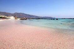 The pink sands of Elafonisi Beach, Crete.