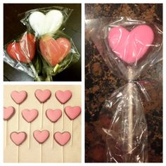 Easy Valentines Gifts. Use a heart lollipop candy mold from Michaels or Hobby Lobby. Fill the mold half with whatever color candy melts you choose and then fill the rest with chocolate! Add a stick and wait for it to dry! Soo easy and cute!