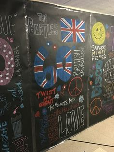 1960s chalkboard effect, word collage. Dance theme week, dance through the decades, Beatles, British revolution