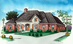 House plan with 4 Bedrooms, 3 Baths Split Plan   12' Ceiling in Master/Den  10' Ceiling in Bedroom 2, Foyer/Dining  Large Gourmet Kitchen/Breakfast  Spacious Den w/Built-In Cabinets  Covered Front/Rear Porch  Beautiful French- European Styling      Living Area: 2377 sq. ft.  Total Area: 3188 sq. ft.  Beautiful home design!