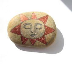 SALE: Hand painted sun art stone/paperweight.