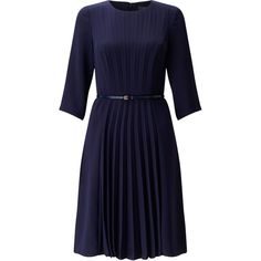Adrianna Papell Crepe Dress With Pleated Front ($185) ❤ liked on Polyvore featuring dresses, navy, women, crepe dress, elbow length sleeve dress, navy dress, textured dress and blue dress